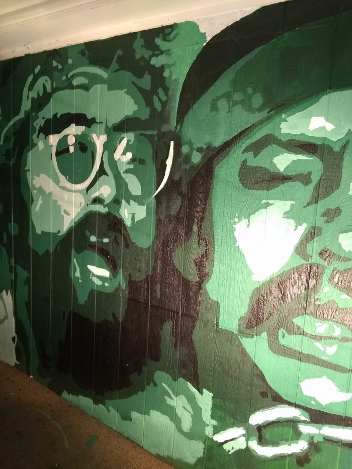 mural painted of cheech and chong